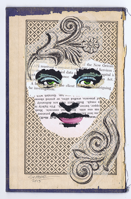 Mixed Media Stencil #9, Old book cover, drawing, stencils, paint, ephemera, collage