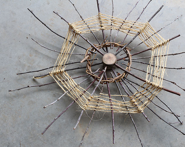 Circle form #2 - a nature art sculpture of wood, vines, twigs, and twine