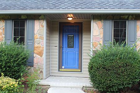 My luminous blue front door in Behr Marquee P530 Indigo Batik