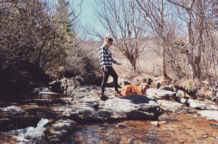 Summer and I making our trek through streams as we headed to the Upper Falls (March 2017, Asheville, North Carolina)