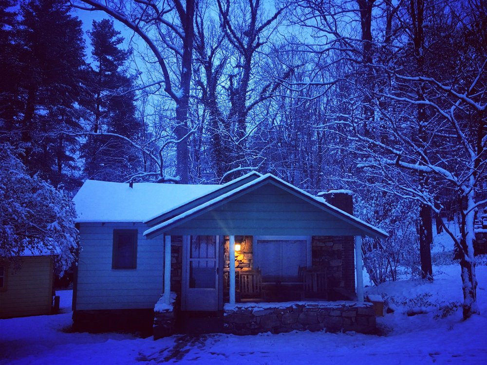 Our cozy cottage at The Pines after a snowy night
