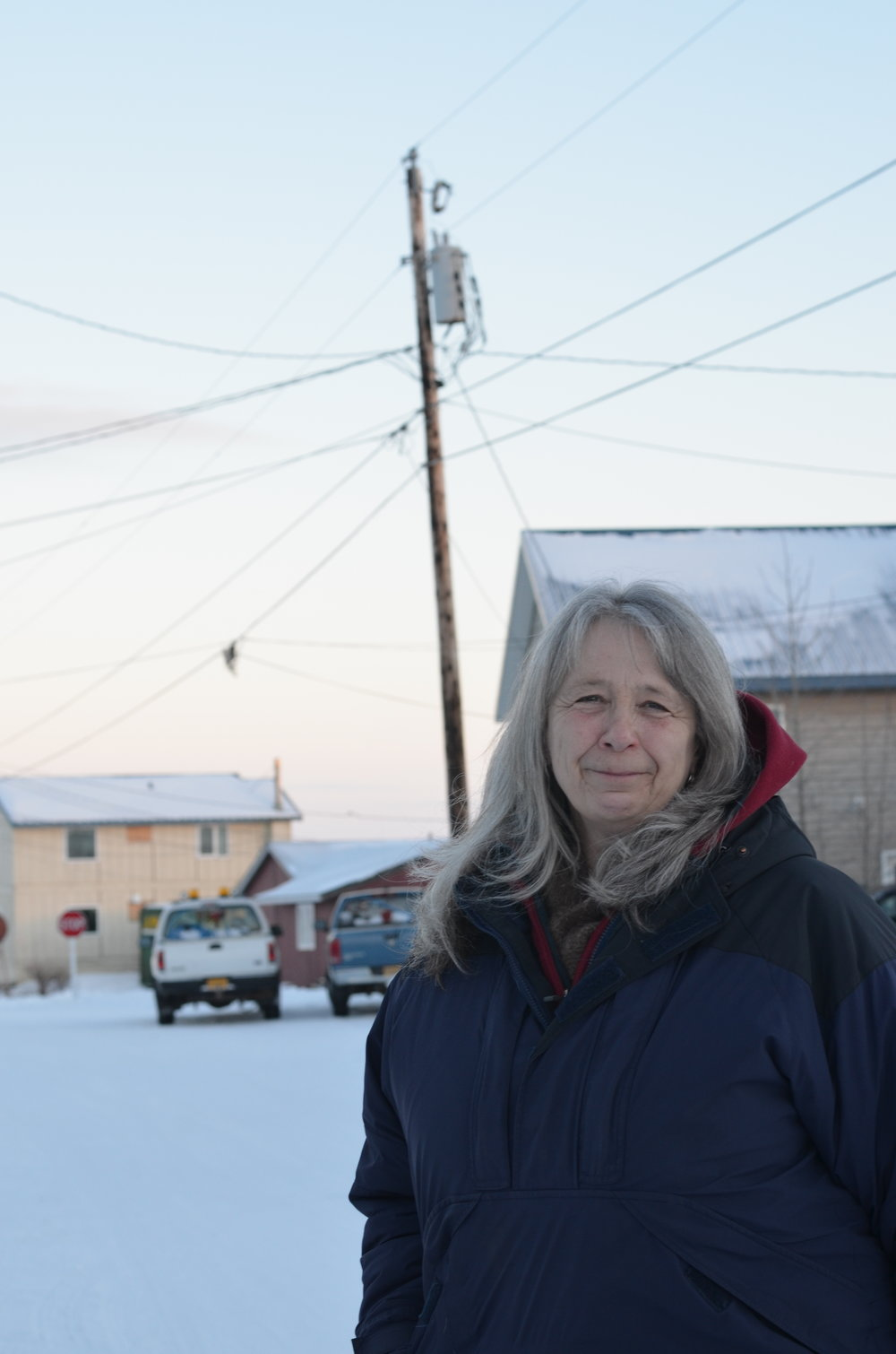 Steinacher outside her home in the Icy View neighborhood of Nome.