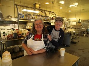 Jeanie Steward and Katie Ringsmuth in South Naknek's mess hall.  http://alaskahistoricalsociety.org/category/alaska-canneries/