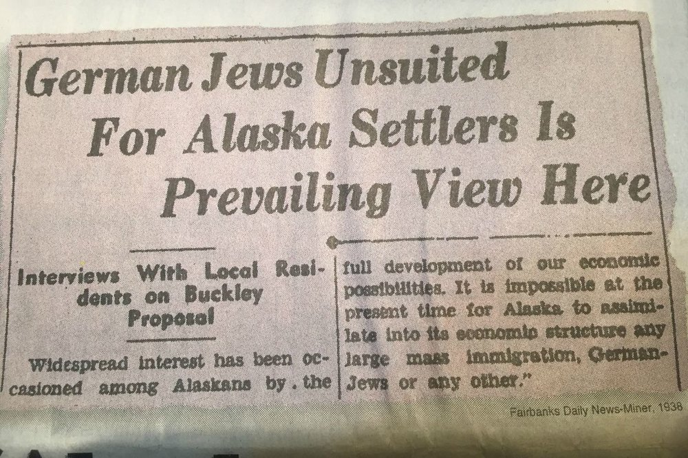 Clipping from the    Fairbanks Daily News-Miner  in 1938, showing widespread rejection of the Slattery Report proposing Jewish resettlement in Alaska.  From: https://www.adn.com/resizer/qGDLvnMFYUP7RgYJC2Eu5KT4__8=/1200x0/wp-adn.s3-website-us-west-2.amazonaws.com/image-archive/1085021/refugees3.JPG?token=bar