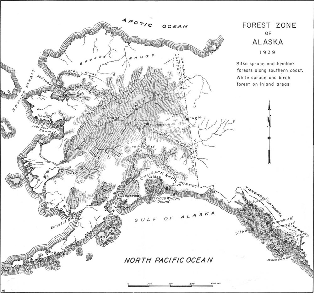 Map of Alaska's forest zone in 1939.  From: http://www.foresthistory.org/aspnet/publications/region/10/alaska_1939/sec1.htm