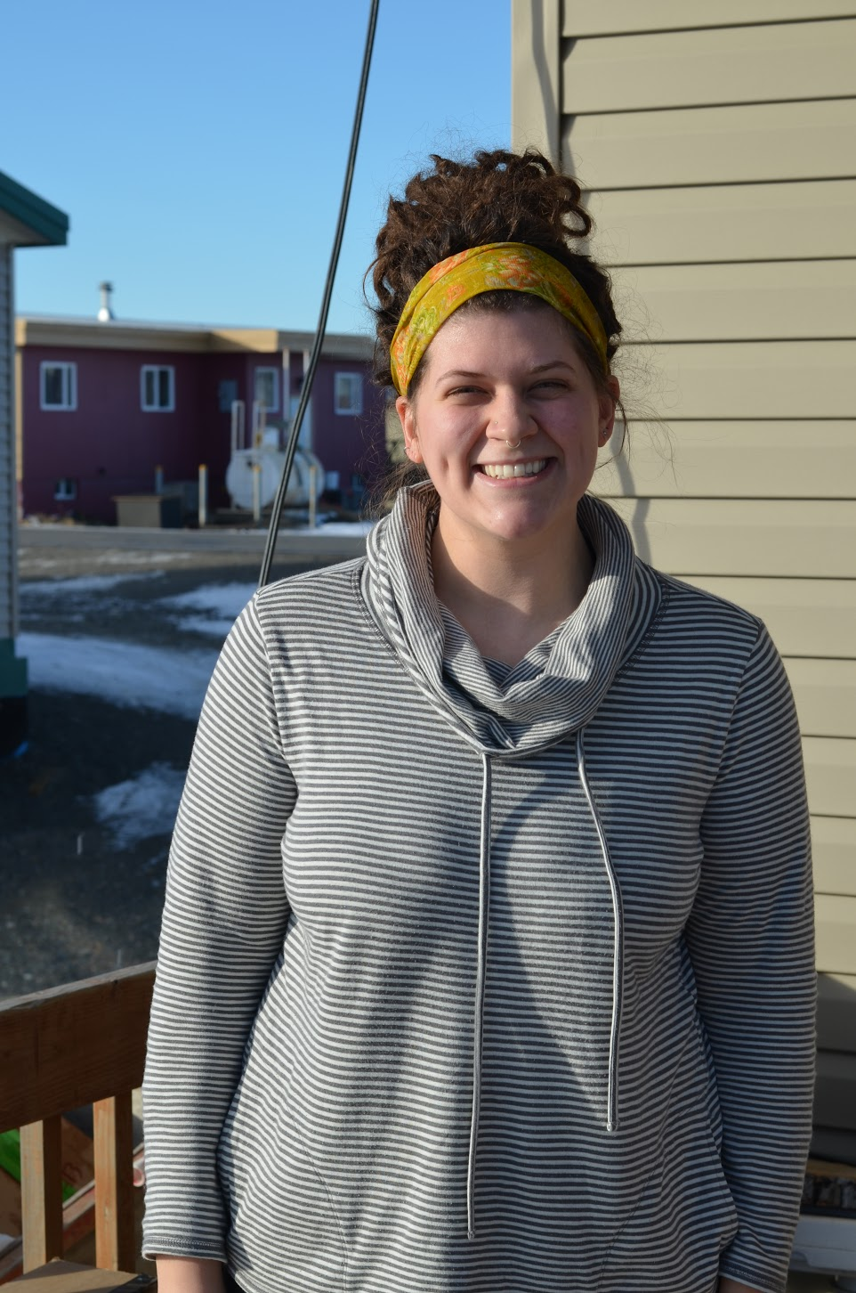 Webster outside her home in Unalakleet.
