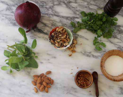 Almonds, walnuts, cilantro, mint, spicy red onion