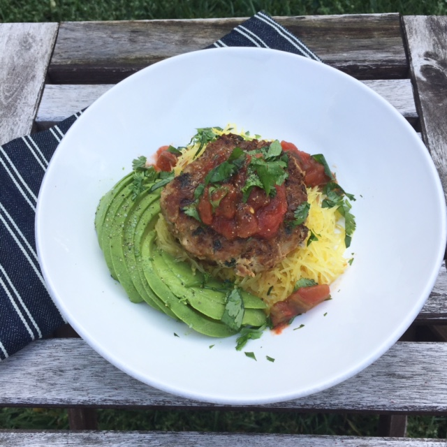 This wins every time I make it. Turkey burger patty over spagetti squash, with avocado, salsa and fresh cilantro. First roast your spagetti squash like French does it here. The combine 1 lb. ground turkey with one small diced onion, fresh herbs, and an egg. Make patties, cook over medium-high heat in olive oil for 3-4 minutes per side. Let rest. Plate over squash and top with avocado, salsa, and fresh cilantro. Die.