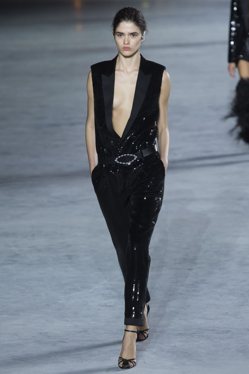 This jumpsuit!!!!     *all pictures can be found on  http://www.vogue.co.uk/shows/spring-summer-2018-ready-to-wear/saint-laurent/collection