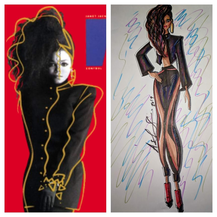 Left: Janet Jackson Control album     Right:  My Inspirational illustration of the Janet Jackson's Control album