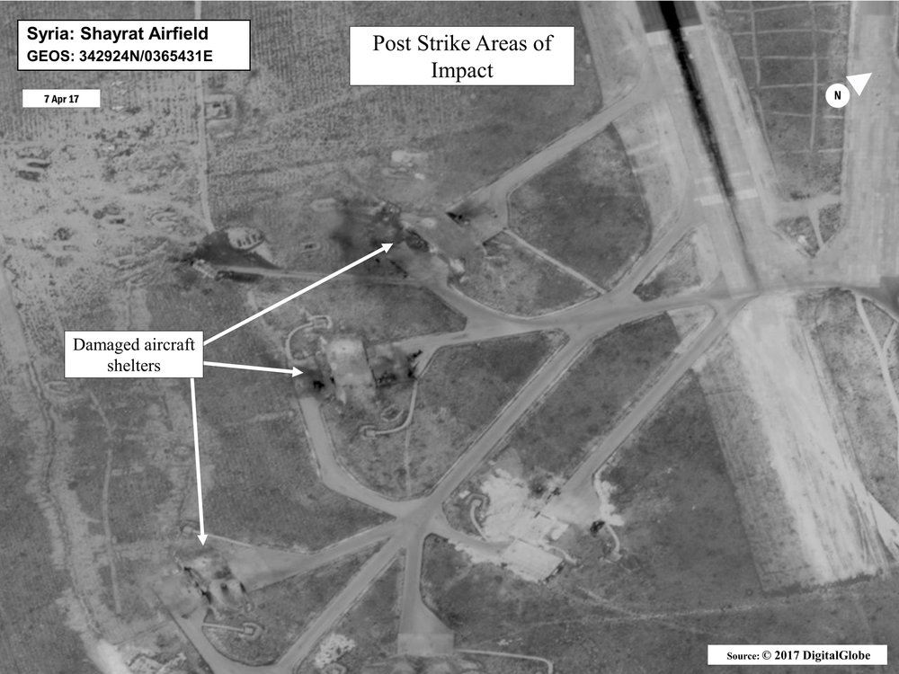 Department of Defense photos above and below show bomb damage at Shayrat Air Base in Syria.