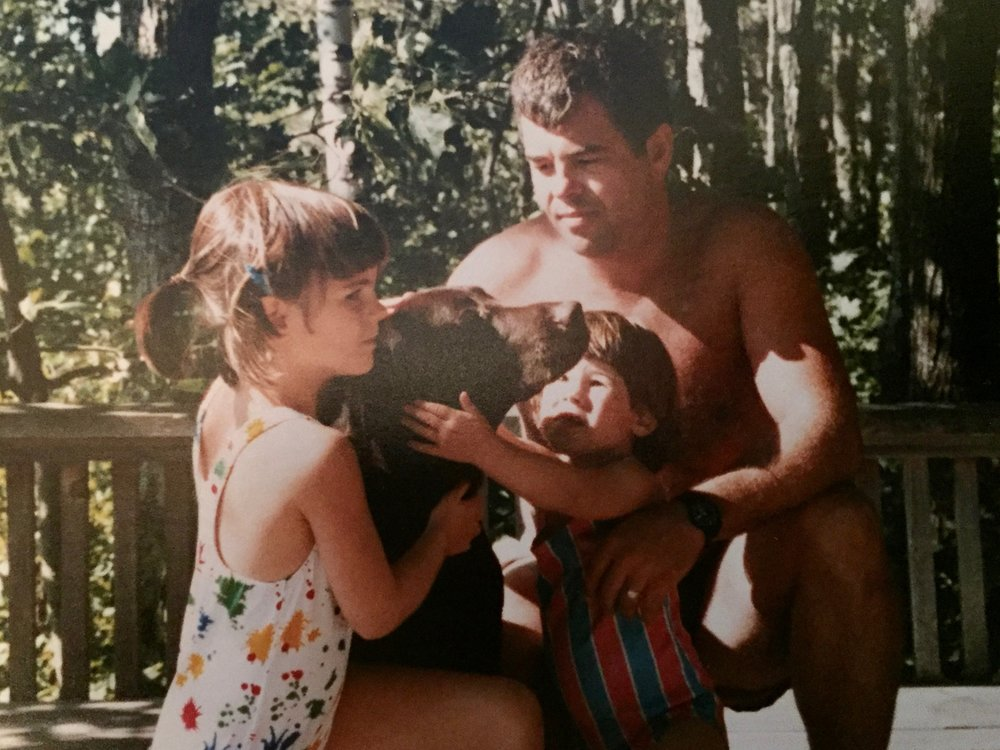 Casey, Elissa, Dad, and I, summer 1987. Fun fact: Elissa went on to wear the bathing suit in this photo for the entire winter... throwing tantrums if Mom tried to take it off for any reason, lol.