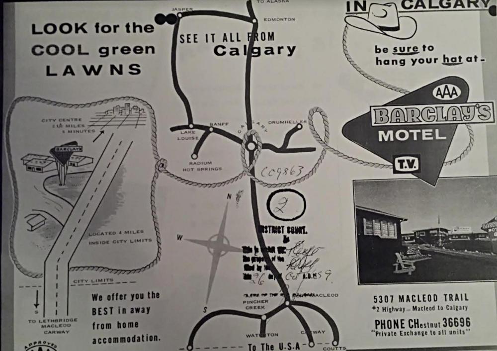 Barclay's Motel Pamflet