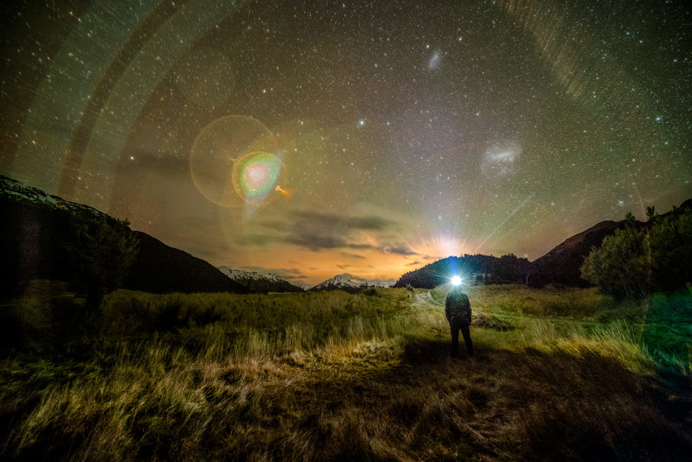 Astronomical experimental selfies - feeling at home and at one with nature