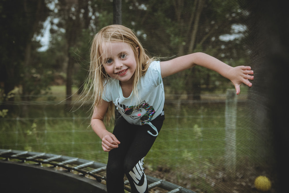 At home on the trampoline - fun photography shoots