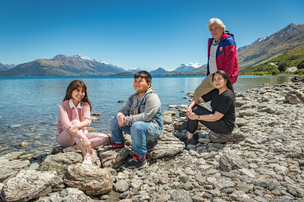 Professional family portrait photography at one of many iconic Queenstown New Zealand places of interest