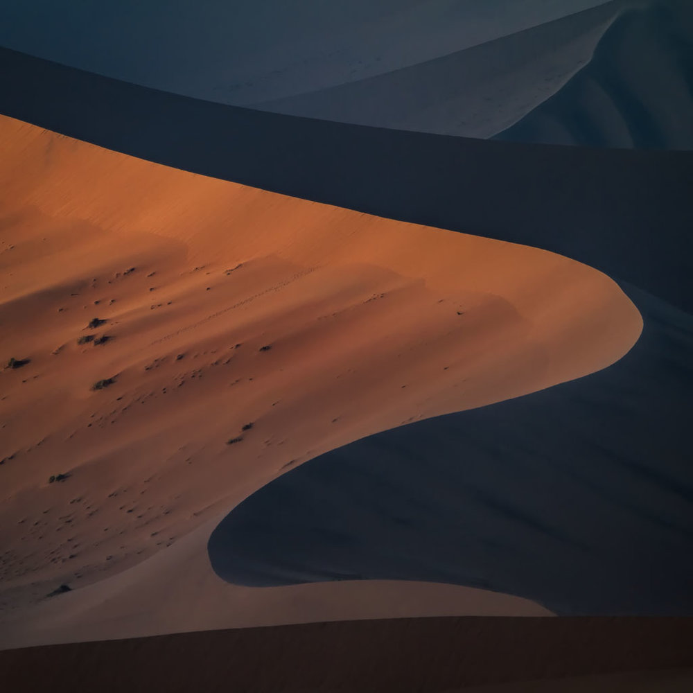 An abstract sunrise image captured using a 400mm lens while sitting atop the Big Mamma dune.