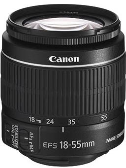 Canon EF-S 18-55mm f/3.5-5.6 IS II kit lens.