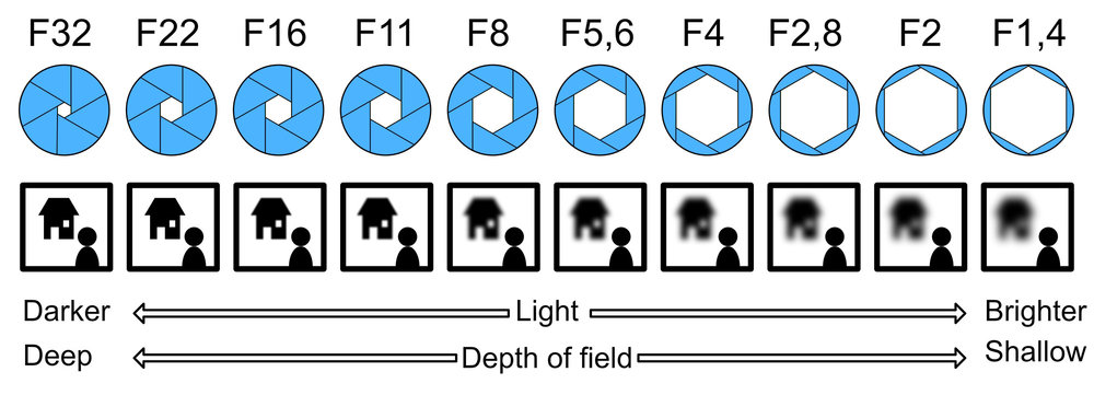 Aperture and its relationship to light and depth-of-field.