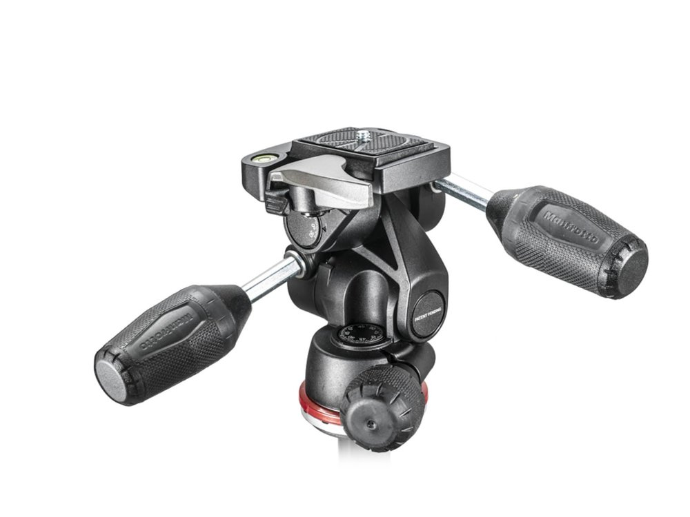 A  Manfrotto  3 Way head with appendages on display.
