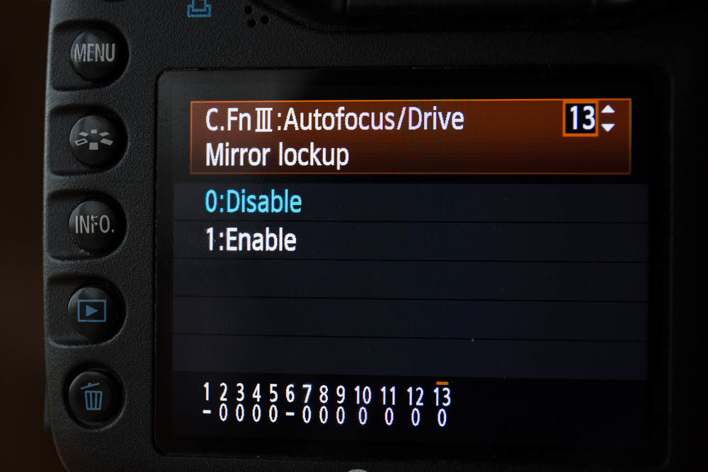 The mirror lockup option is sometimes buried deep inside the camera menu system.