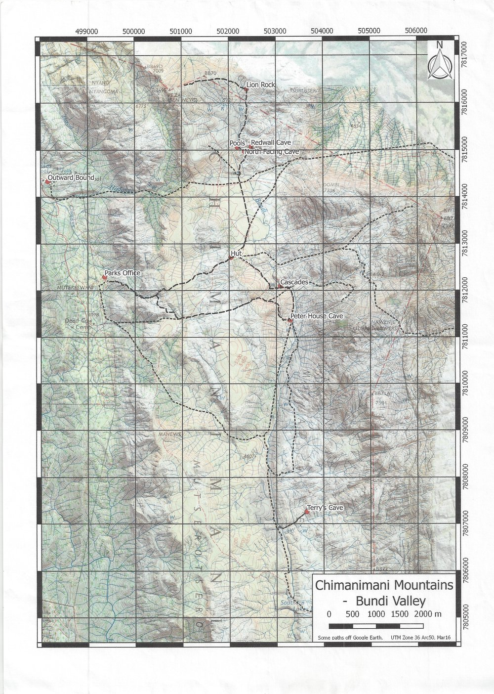 Chimanimani Mountains Contour Map