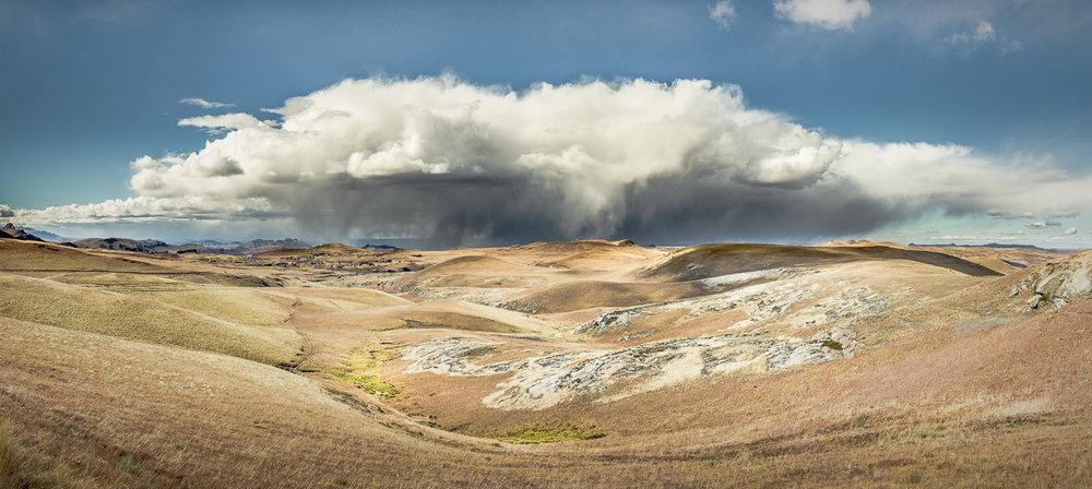 A cloudburst over the Sehlabathebe National Park, Lesotho.