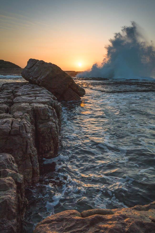 A wave-break at sunset near Luputhana.