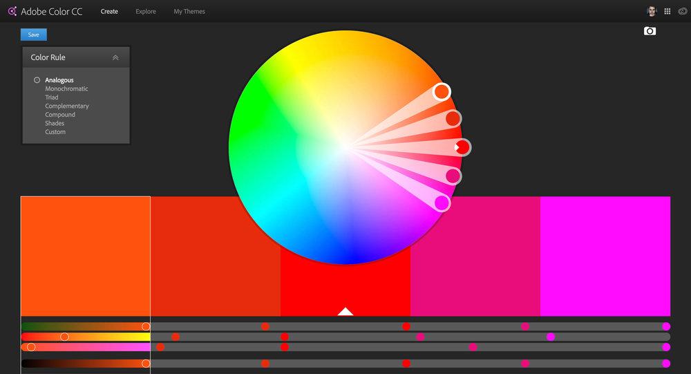 The Adobe Color CC user interface.