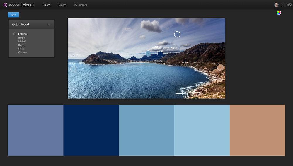 A photo loaded into Adobe Color.