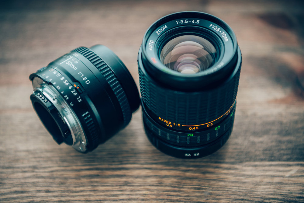 50 mm prime (left) and 35-70 mm zoom on lens (right).