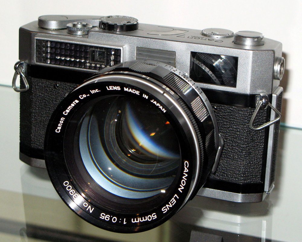 Canon 7 with the Canon 50mm f/0.95 lens . Image Attribution: Wikimedia Commons.