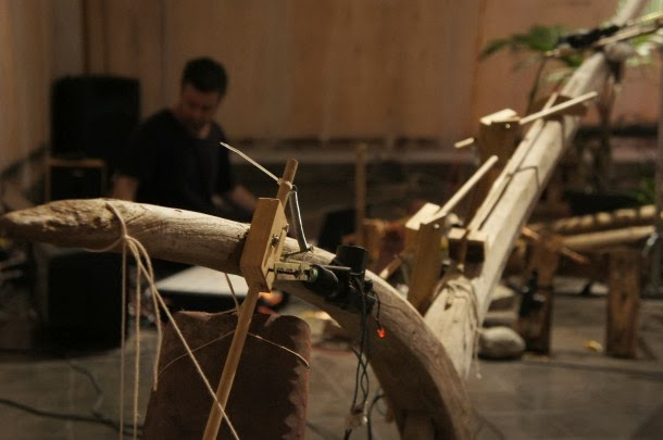 Dylan Martorell and Wukir Suriyadi collaborative performance for  Instrument Builders Project , ICAN, Yogyakarta, 2013.