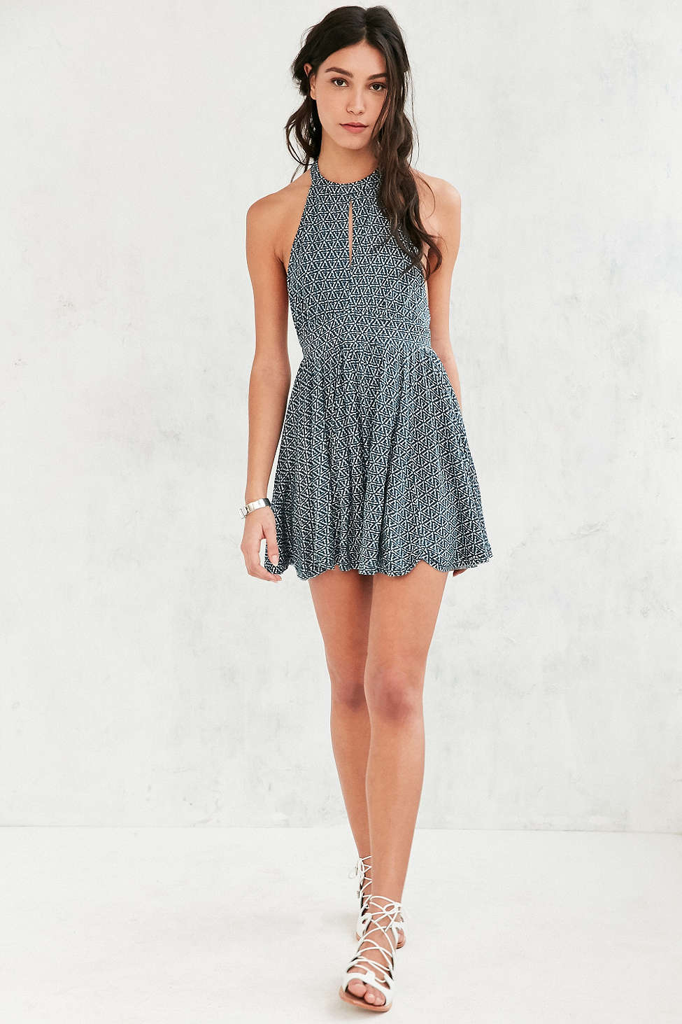 Ecote Patterned High-Neck Keyhole Romper, Urban Outfitters