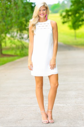 Tearing Up White Shift Dress || Red Dress Boutique