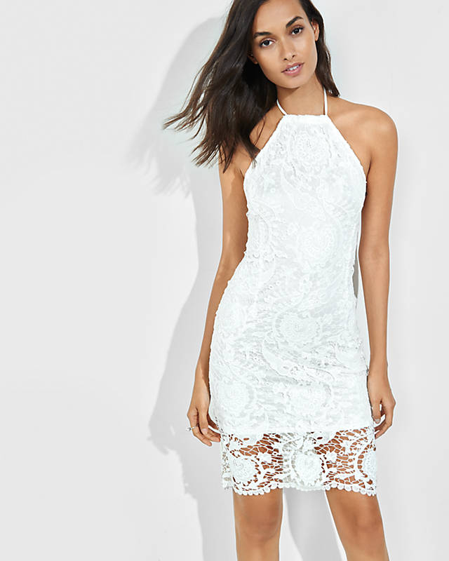 White Lace Halter Sheath Dress || Express