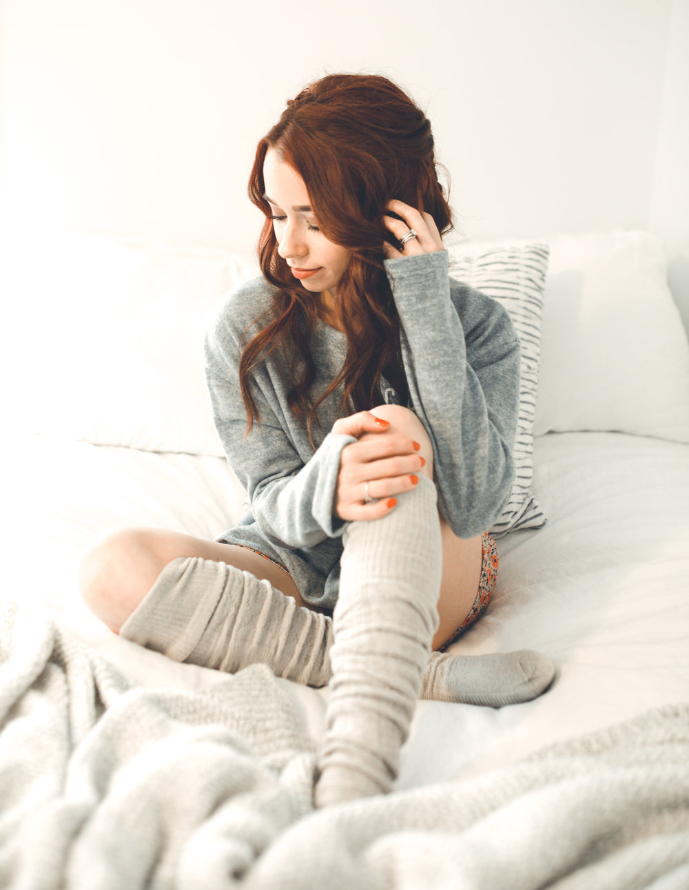 Cozy Sweatshirt , RaeLynn's BTQ ||  Floral PJ Bottoms , Target ||  Floral Tea Cup , Target ||  Cozy Knit Socks , Target ||  Indie Lee Body Oil , Eva Maison ||  Big T NYC , Eva Maison ||  3-2-1 Facial Kit , Eva Maison || Hair,  G. Michael Salon  || Photography,  Casey Ardizzone