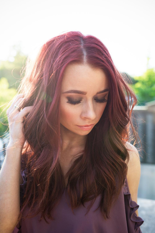 Purple Romper,  RaeLynn's Boutique  || Makeup,  Ericka Kresge  || Heels,  Target  || Photography,  Casey Ardizzone