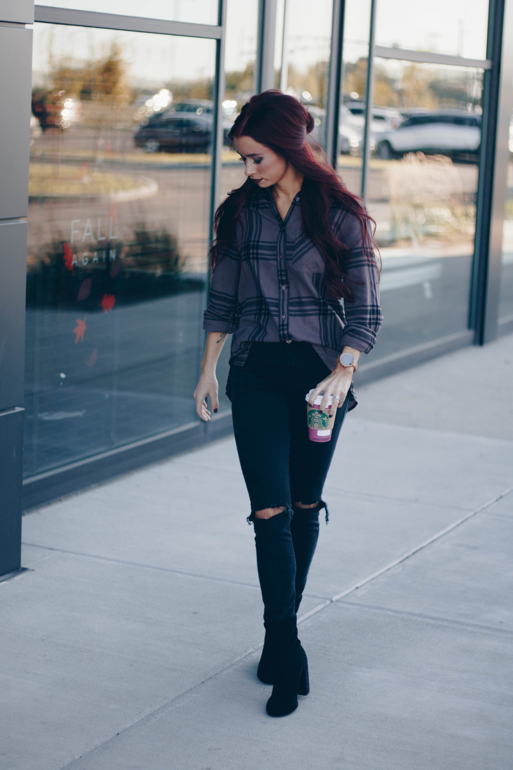 Flannel Shirt  ||  JORD Watch  (Use code TRENDYININDY50 for $50 off) ||  Black Denim  ||  Black Booties  ||  Makeup
