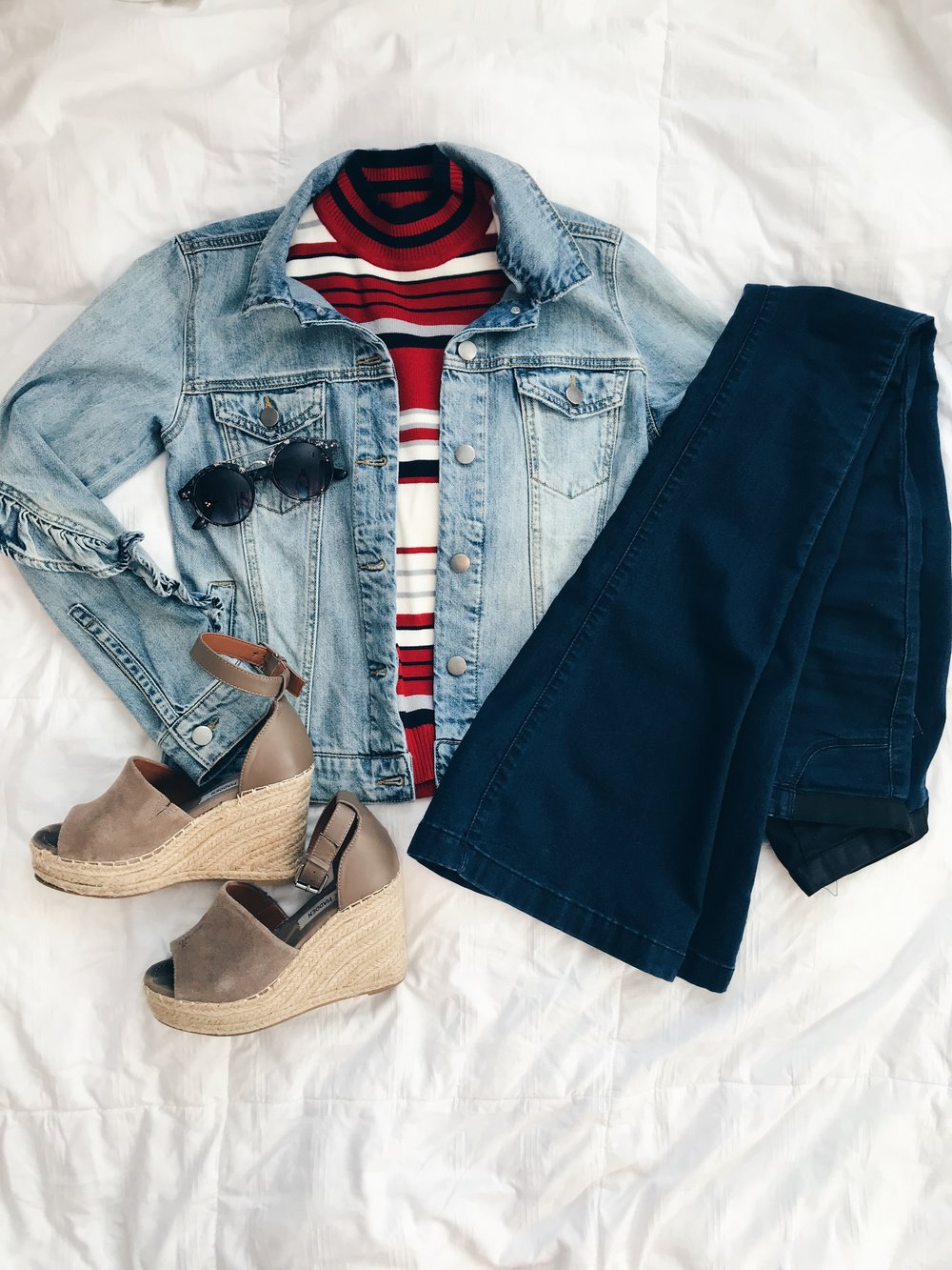 - Striped Top || Jean Jacket || Flared Jeans || Wedges || Sunglasses*Use the code TRENDY15 at RaeLynn's Boutique.