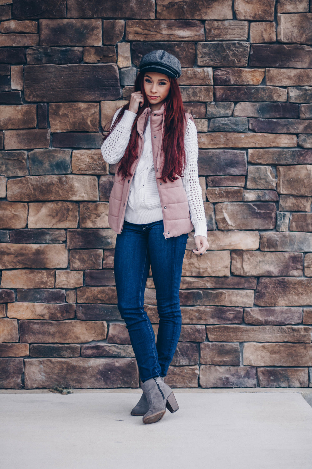Cream sweater  here ,  here , and  here  ||  Dusty Pink Vest  ||  Grey Booties  ||  Dark Denim  ||  Fiddler Hat