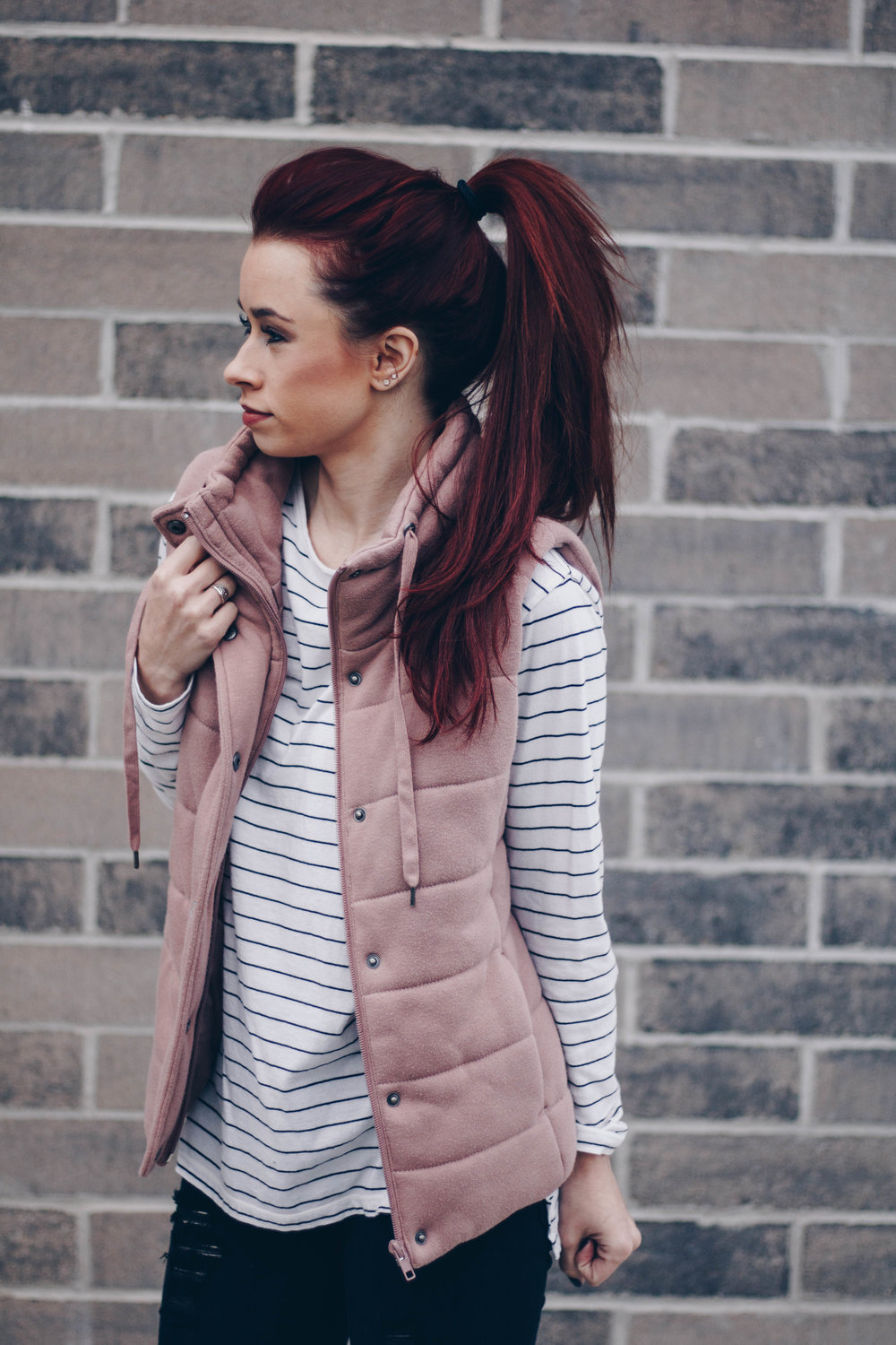 Striped top  ||  Dusty pink vest  ||  Black denim  ||  Black booties