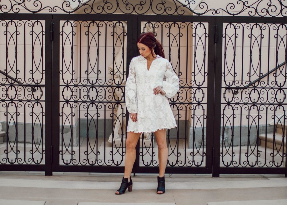 Wearing  this dress  from Lesley Jane (TRENDYLJB20) || These peep toe booties are sold out but  click here  for similar