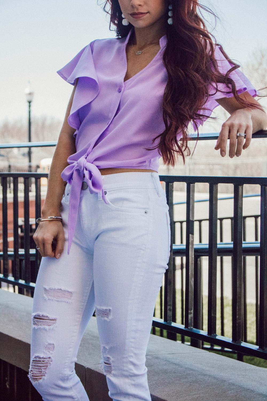 Tie Front Top,  Shop Goldylox  ||  Distressed White Denim  ||  Wedges  ||  Stella Valle Gold Bracelet ||  Stella Valle Silver Bracelet || Earrings ||  Necklace
