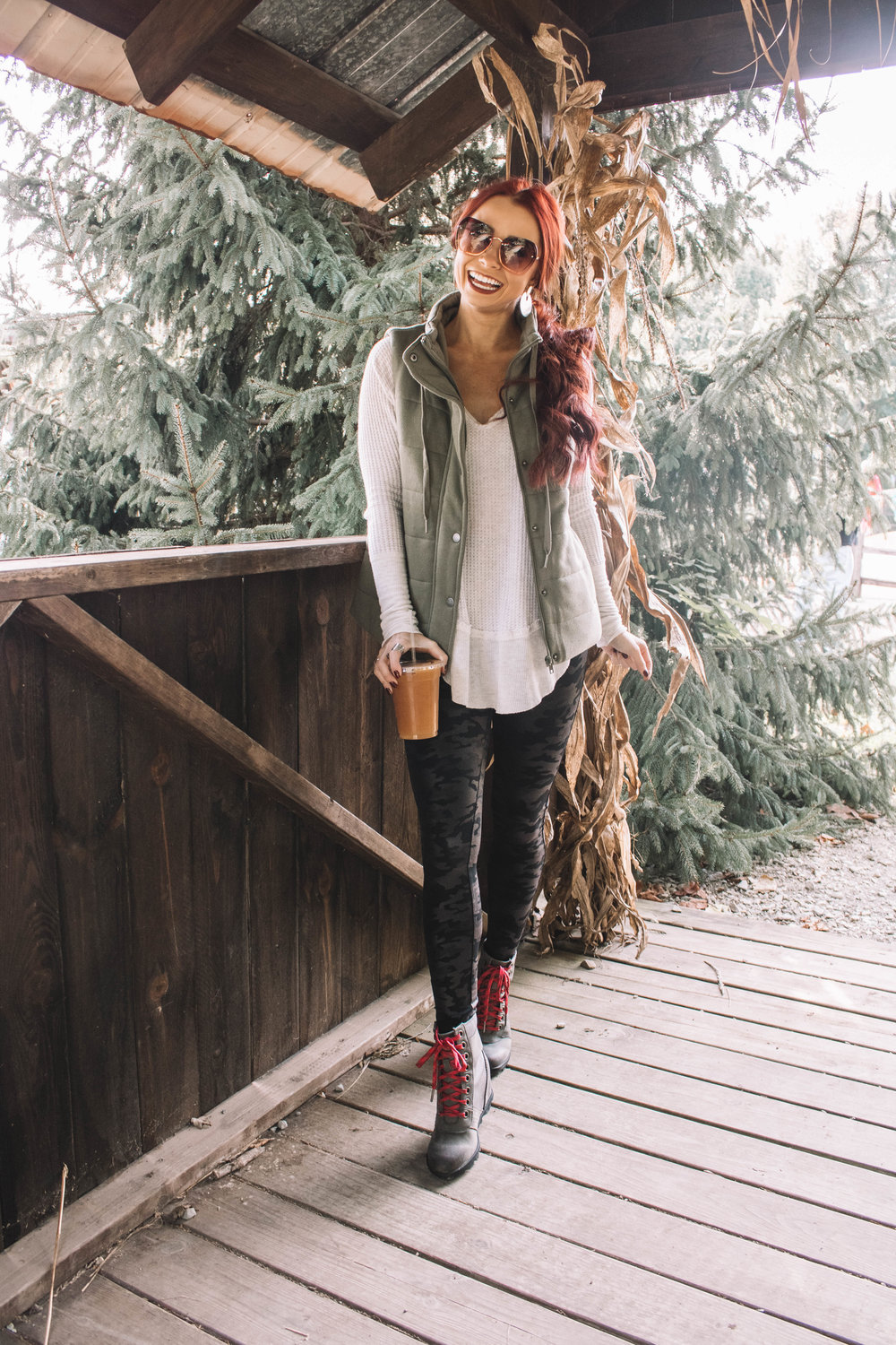 Olive fall vest styled by top Indianapolis fashion blog, Trendy in Indy