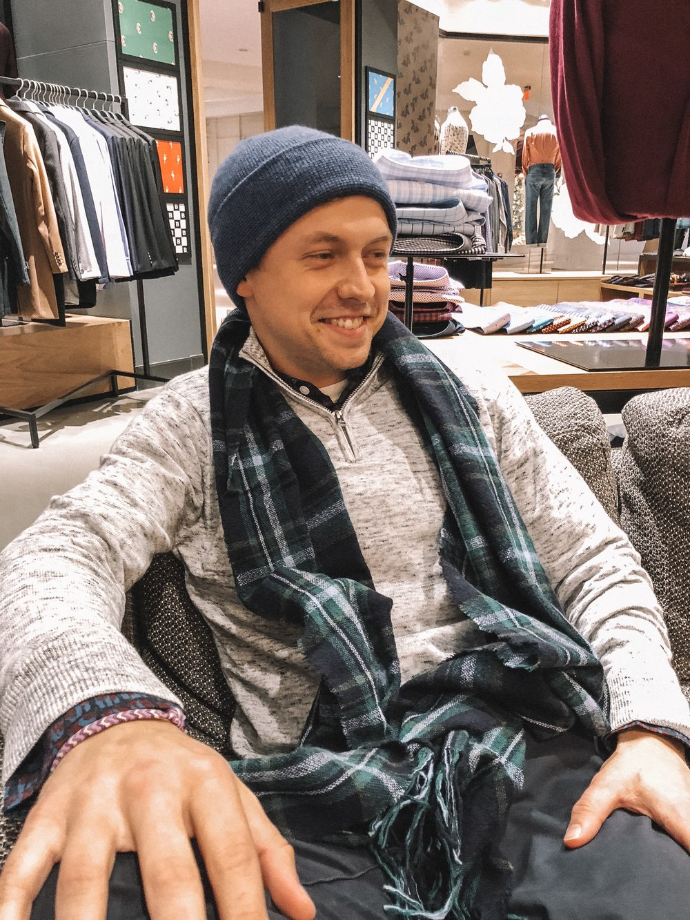 The Best Holiday Gifts for Men with Bonobos featured by top Indianapolis life and style blog, Trendy in Indy: image of a man wearing a scarf