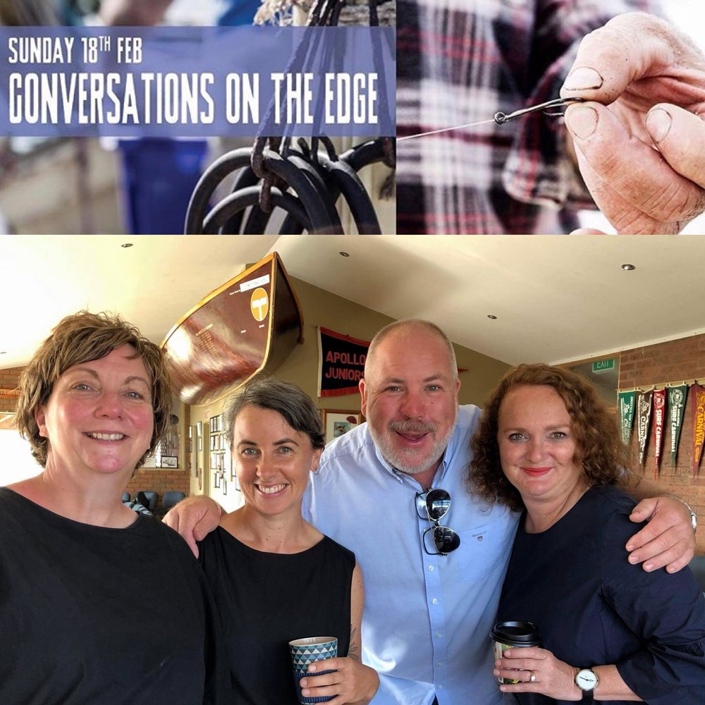 "Apollo Bay Seafood Festival's Conversations on the Edge, talking ""Know Your Farmer, Know Your Food."" Charles Massy, Jo Lawson, Paul Troughton and Ros Denney, moderated in conversation by Richard Cornish and Hilary McNevin. Podcast by Apollo Bay Radio."