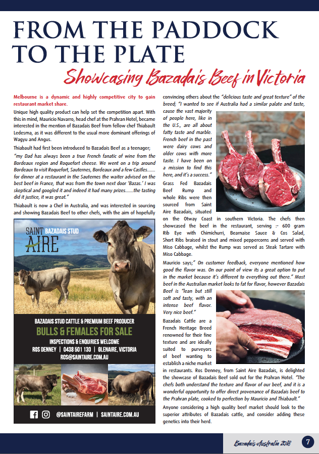 Editorial in the Australian Bazadais Cattle Society Magazine, Issue 6, May 2018