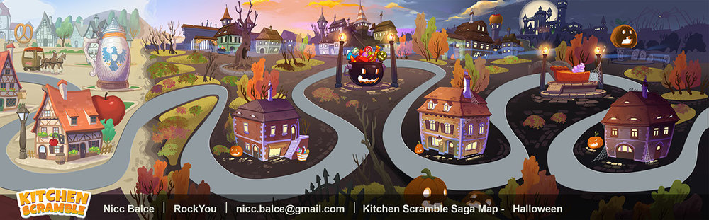These are saga map illustrations done for the mobile game Kitchen Scramble.  Each land had its own theme bassed on an existing place or event.  There also had to be a huge presence of food structures or landmarks on them. These maps shared pretty much the same loose 2-point perspective and had to flow as seamlessly as possible into each other.  The roads later contained level dots and some UI elements went over the upper and lower parts of the screen.  This is where the player selects whichever level they wanna play or replay during the course of the game.  Ambient map animations (not shown) were added by Benjamin Paras. Art Directors :  Charles Suwannaporn  Art Lead:  U-bin Li