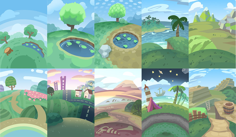 This collage is a bunch of styles and environments we were pitching for the different planets.  I included some tropical planets,  a barren fossil planet,  some calm peaceful park-like ones,  and a archaeological dig planet with some ruins.